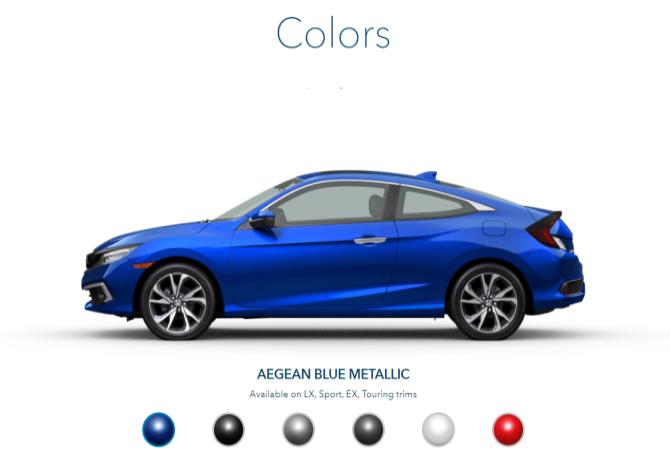 2020 Honda Civic Exterior Colors