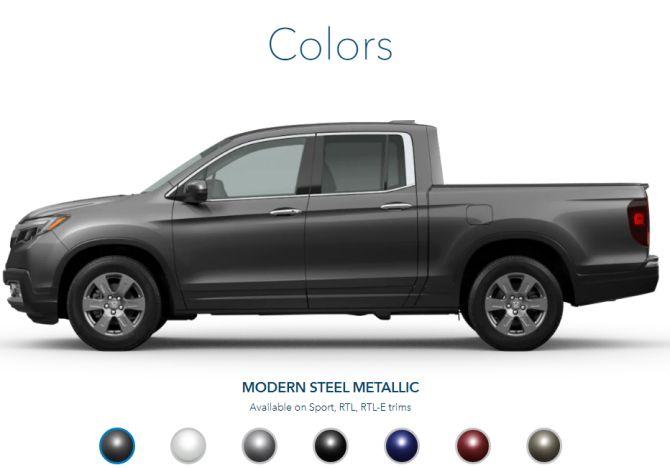 2020 Honda Ridgeline Exterior Colors