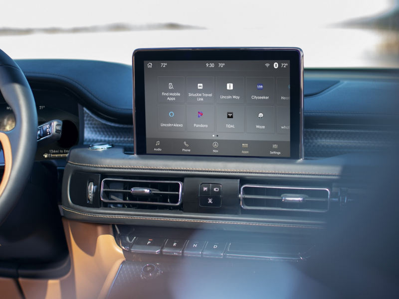 Touchscreen display inside the 2020 Lincoln Aviator