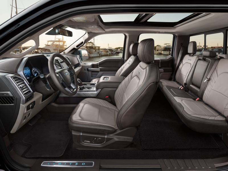 The spacious interior of the 2020 Ford F-150