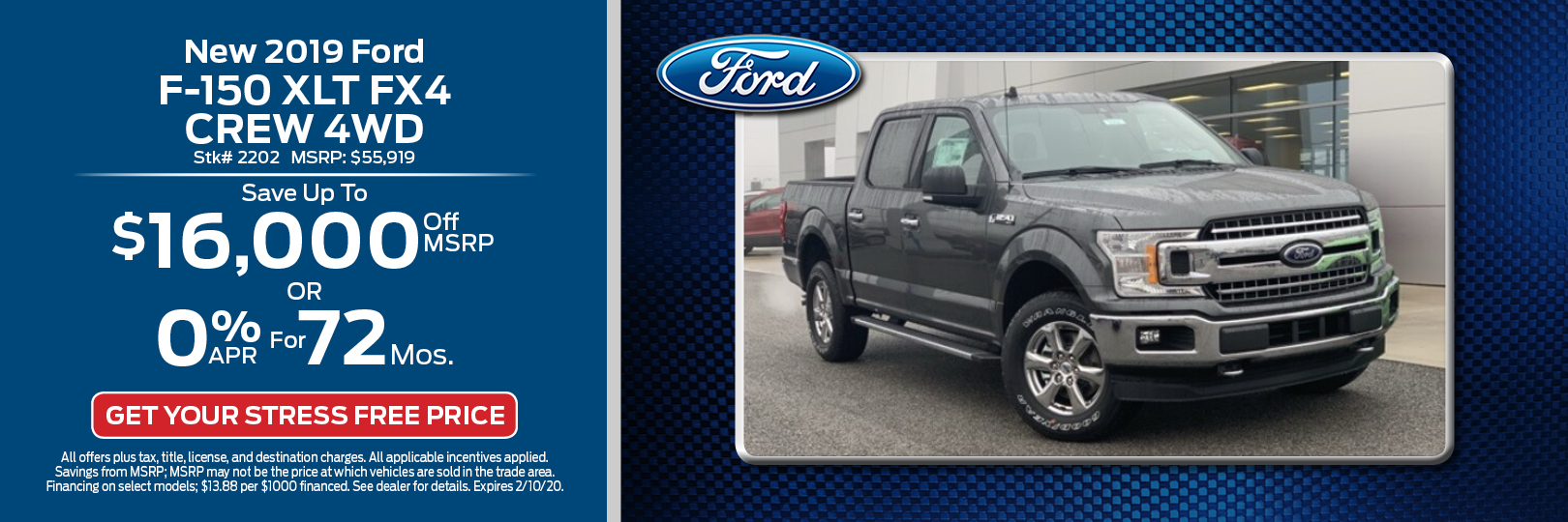 New 2019 Ford F-150 XLT FX4 Crew 4WD
